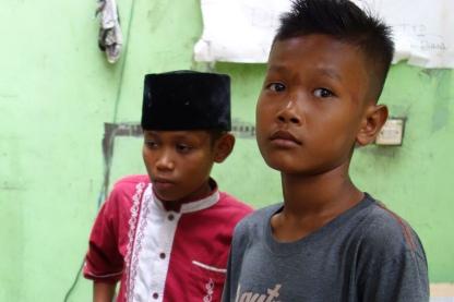 Children at orphanage survey damage