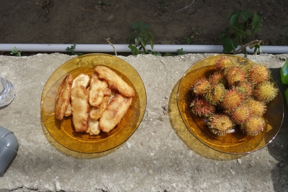 Hospitality banana fritters and rambutan fruit