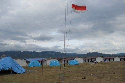 Rotary camp tents and Huntara Indonesian flag